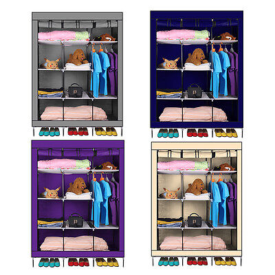 Triple Multiple Canvas Wardrobe Cupboard Hanging Rail Srorage Clothes Shoes