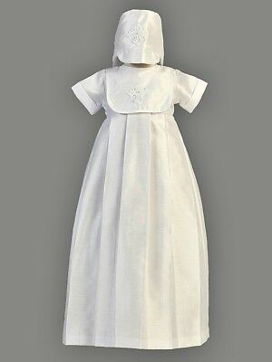 CLEARANCE Boys White Christening Baptism Gown w/ Bib Cross & Hat Size 12-18M
