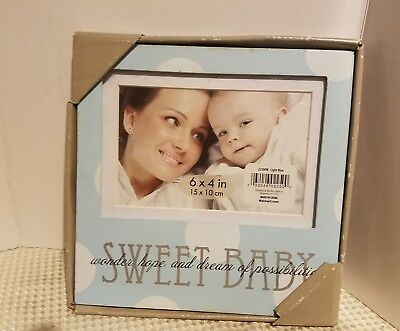 Single photo baby picture frame 6x4 light blue