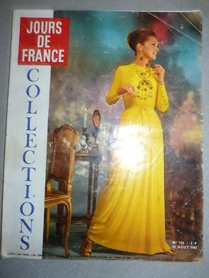 Magazine revue JOURS DE FRANCE #716 31 aout 1968 Collections mode fashion