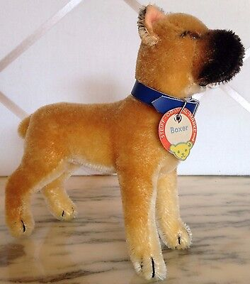 Vintage Steiff Sarras Boxer Dog With Black Mask, Button, And Chest Tag!