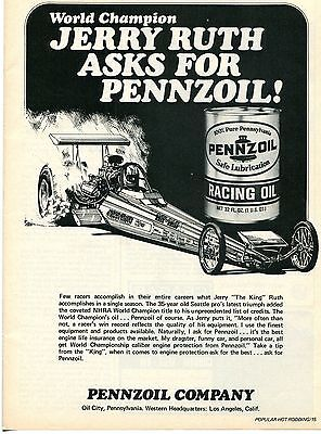 1974 Pennzoil Racing Motor Oil Jerry The King Ruth Top Fuel Dragster Print Ad