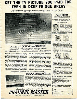 1957 Channel Master TW Traveling Wave & Showman TV Antenna Print Ad