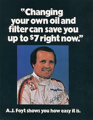 1976 8 Page Print Ad of Valvoline AJ Foyt Changing Your Own Oil & Filter