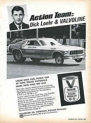 1969 Valvoline Racing Motor Oil Action Team Dick Loehr Ford Mustang Funny Car Ad