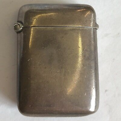 Antique Victorian Solid Silver Vesta Case 1897 Plain Un-inscribed 48mm X 37mm