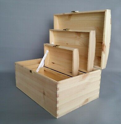 Wooden Chest Trunks Storage Boxes Plain Wood Jewellery Furniture Antiques Box