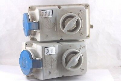 TWO Lewden PM32 3301, 32 AMP  240V INTERLOCKED SWITCHED SOCKETS