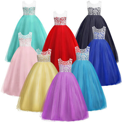 Flower Girls Kids Princess Wedding Bridesmaid Party Formal Lace Ball Gown Dress