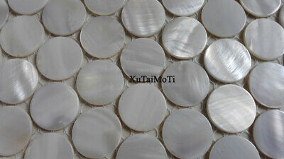 white round shell mosaic mother of pearl kitchen backsplash bathroom wall tile