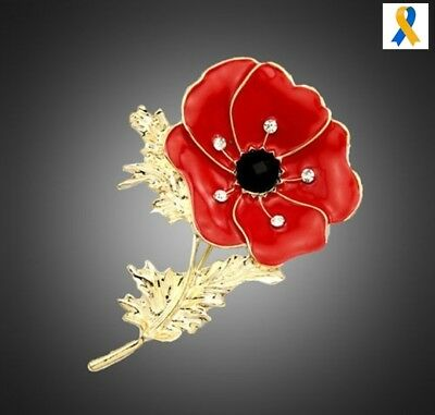 New Large Red Crystal Poppy Pin Brooch Enamel Gold Uk Seller  + Pouch
