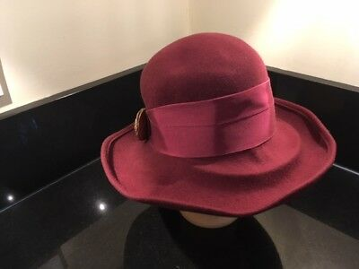 Marida Vintage Deep Red Wool Hat With Ribbon And Hat Pin Rrp £36.99 Now £7.99