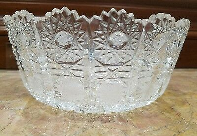 Vintage Bohemian, Czech Hand-cut  24% Lead Crystal Glass Bowl 7in h / 2 AVAIL.
