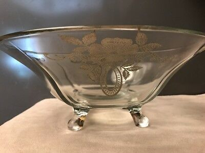 STERLING SILVER Dogwood & Ribbon Overlay Crystal fruit/console footed bowl