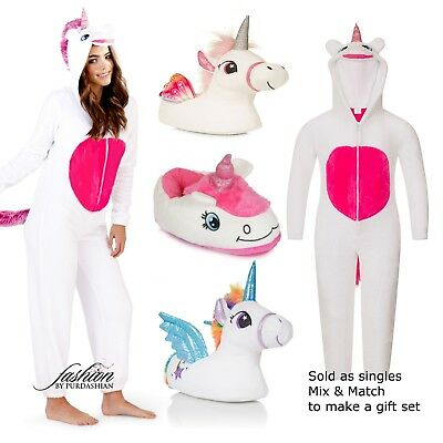 ONEZIE Ladies Or Girls Unicorn Slippers Or Fleece All in One Make Gift Set