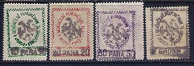 Albania handstamped on White Laid Paper SC # 27;29;30;33a MH Cat.$35
