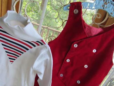 NAUTICAL Inspired Vintage Little Boys 2pc Outfit T-neck & Red CORDUROY Overalls