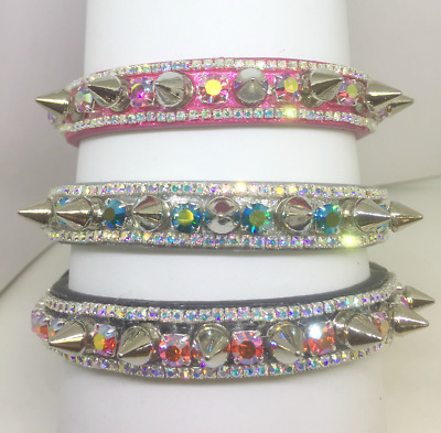 Cutie Pie Pet Collars ® ~Angelic Aurora Spikes~ Rhinestone Dog Cat Collar USA