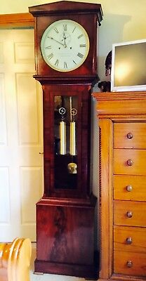 19th Century Mahogany Glass Cased Longcase clock