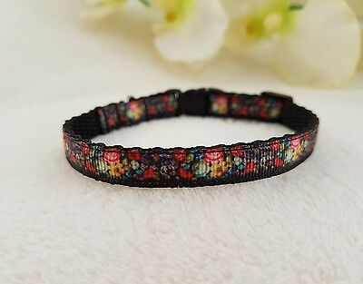 Cutie Pie Black Flowered Cat, Kitten Collar And Bell, Safety Buckle,2 Sizes