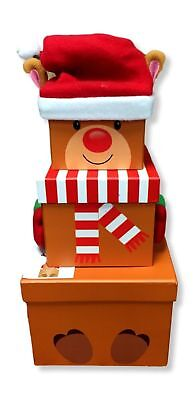 Reindeer - Set of 3 Stacking Christmas Gift Present Boxes with Wooly Hat Xmas