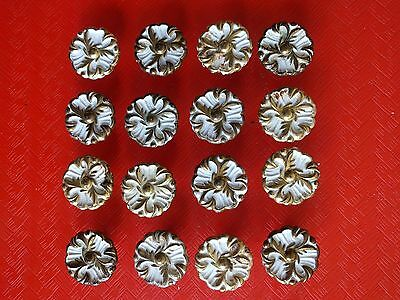"Lot of 16 vintage floral Knobs, Cabinet Door or Drawer Pulls, 1-1/4"" dia. Nice!"