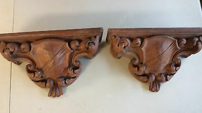 "Lg Antique Hand Carved Decorative Wood Wall Brackets, 16-1/2L, 5""d, 9-1/2""h"