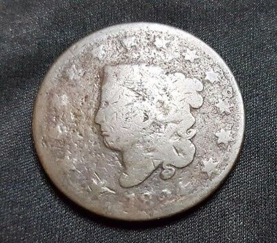 1824 1C BN Coronet Head Large Cent, Free Shipping