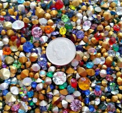 75 vintage/new rhinestones mixed sizes colors crafts glass jewelry repair loose