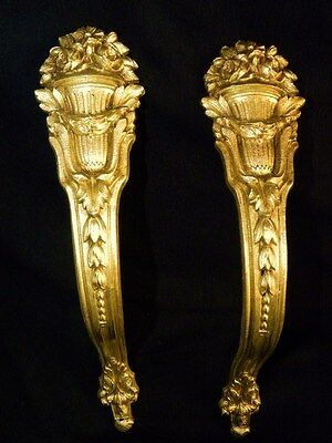 Antique Pair of  French Tie backs, Brackets Gilt Bronze Louis XV Style 19Th. C