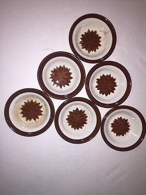 "Vintage Wallace China Lot Of 6 Floral pattern 5"" Dessert Bowl chocolate brown"