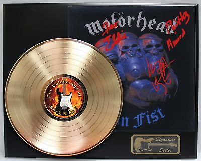 Motorhead - Gold LP Record Display With Reprinted Autographs - Limited Edition