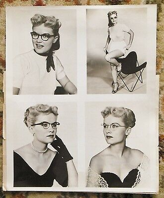 1953 MISS SPECS APPEAL - Original PHOTOGRAPH with BAUSCH & LOMB Press Release