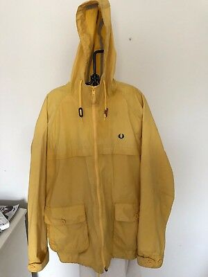 Fred Perry Oil Cloth Jacket/coat Xl British Millerain Waxed Cotton England Made