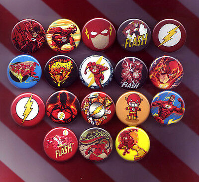 THE FLASH collectible pins/buttons/badges dc comics justice league set of 18