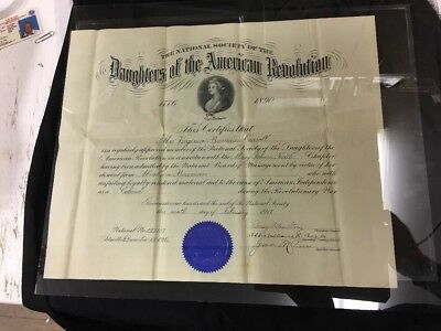 Daughters Of The American Revolution Certificate Diploma 1916  Signed & Papers
