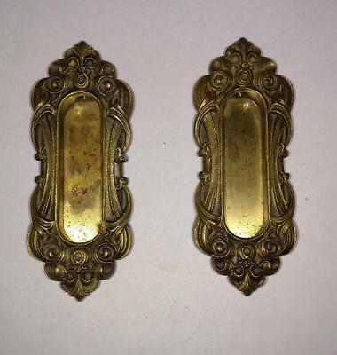Pair Brass Sash Lifts or Pocket Door Pulls Fancy Ornate Hardware (D8)