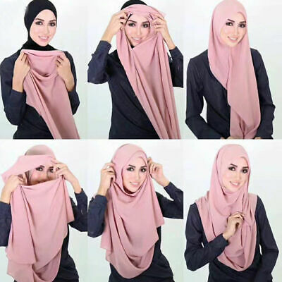 Muslim Instant Double Loop Chiffon Shawls Two Face Hijab Malaysia Scarves Scarf
