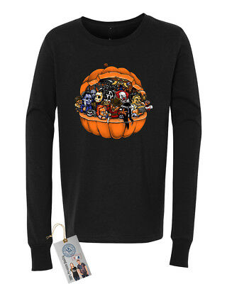 Pumpkin Halloween Scary Characters Sarcastic Youth Long Sleeve T-Shirt