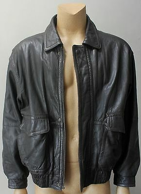Retro Men's Bomber Real Leather Brown Zip Up Quilted Lining Jacket Coat Size XL
