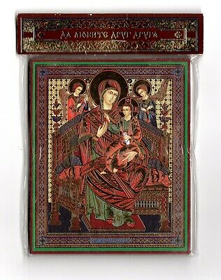 Our Lady Vsetsaritsa Wood Base Icon Бого Матери Всецарица 10x12cm