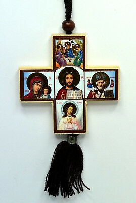 Holly Marry And  The Saviour 11X8Cm Car Amulet Cross Icon St Nicholas