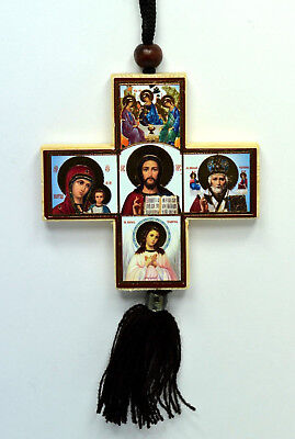 car amulet wood cross icon st nicholas, holly marry, the saviour , angel 7x7cm