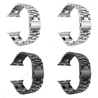 Replacement Stainless Steel Strap Classic Buckle Watch + Adapter 38/42mm