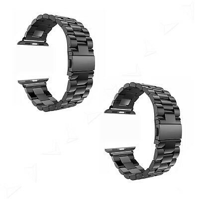 Black Replacement Stainless Steel Strap Classic Buckle Watch + Adapter 38/42mm