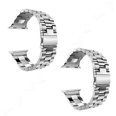 Silver Replacement Stainless Steel Strap Classic Buckle Watch + Adapter 38/42mm