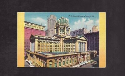 Vintage Postcard Linen US Court House Chicago Ill         Old Cars