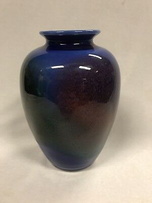 Vintage Australian Pottery Arnaud Barraud Studio Blue Glazed Vase Marked To Base