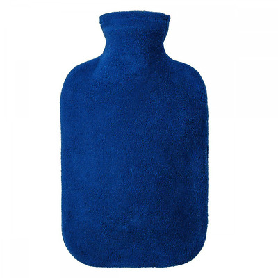 Fashy 2 Litre Blue Hot Water Bottle with Fleece Cover