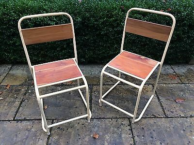 2pcs Industrial vintage stacking chair with teak wood mid century